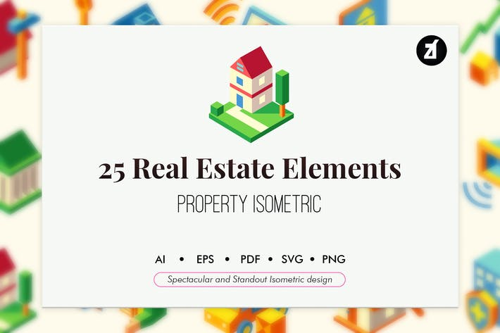 Thumbnail for 25 Real estate isometric elements