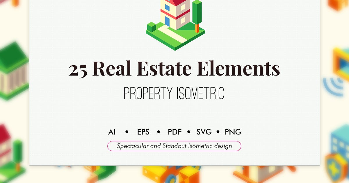 Download 25 Real estate isometric elements by Chanut_industries