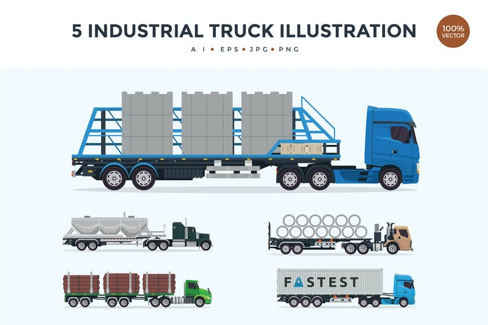 Thumbnail for 5 Industrial Trailer Truck Vector Illustration 1