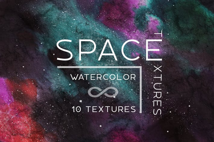 10 Watercolor space backgrounds set