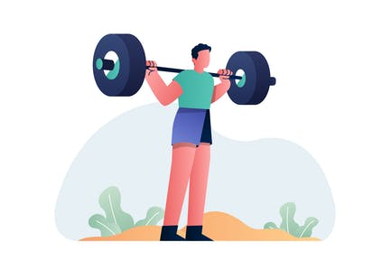 Sport - Weightlifting and Gym Vector Illustration