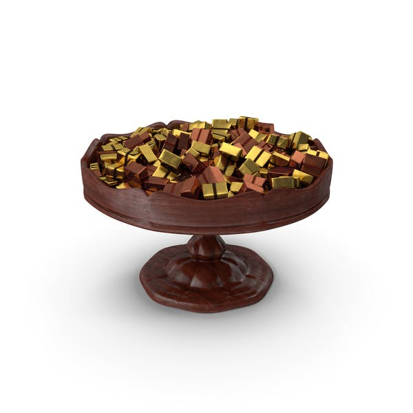 Fancy Wooden Bowl With Wrapped Chocolate Squares