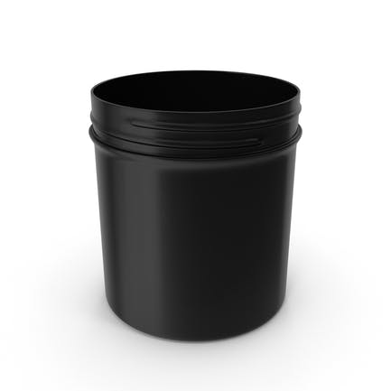 Black Plastic Jar Wide Mouth Straight Sided 20oz Without Cap