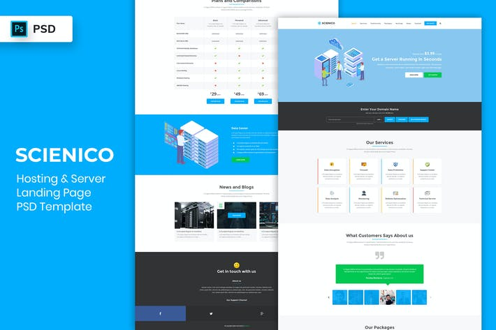 Thumbnail for Web Hosting - Landing Page PSD Template
