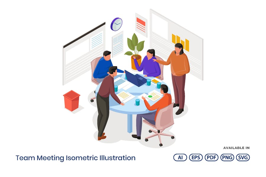 Team Meeting Isometric