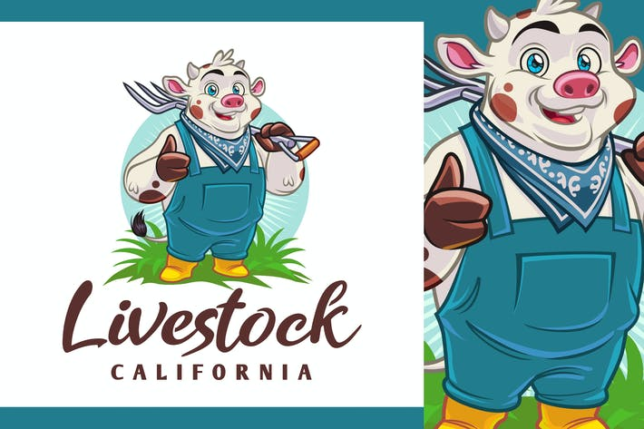 Thumbnail for Farmer Cow Character - Milchfarm & Vieh Logo