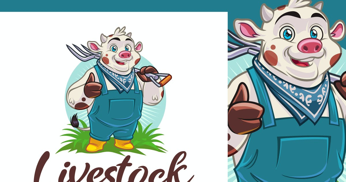 Download Farmer Cow Character - Dairy Farm & Livestock Logo by Suhandi