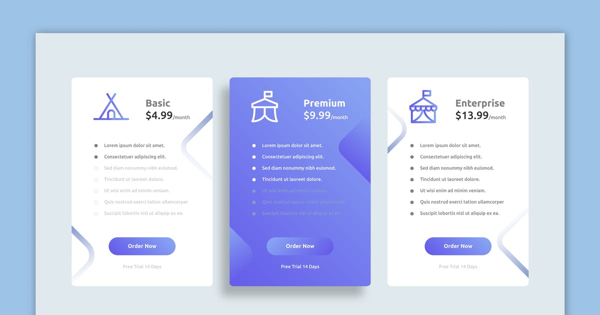 Download Blues – Pricing Table Design by designesto