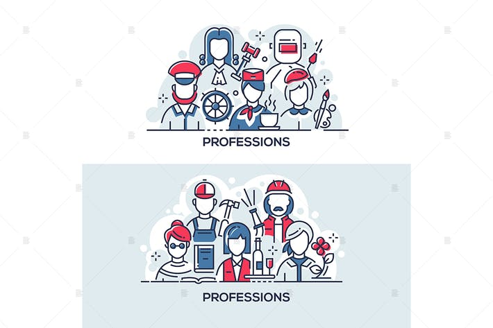 Thumbnail for Different people professions banner