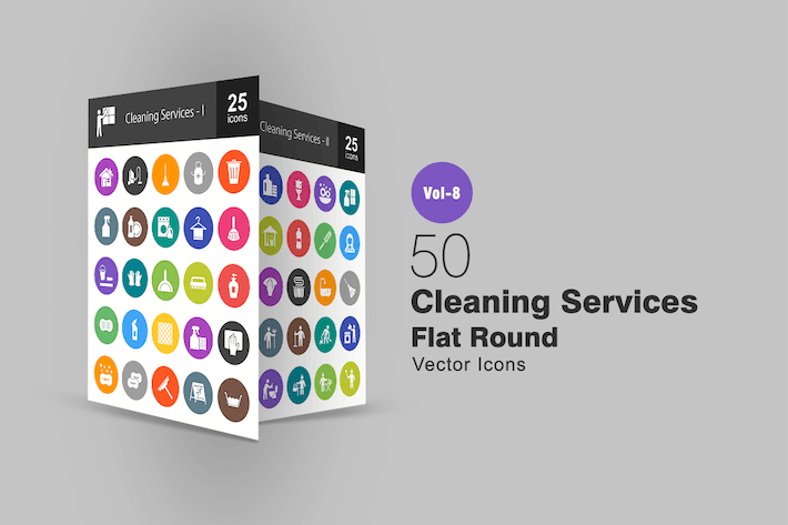 Thumbnail for 50 Cleaning Services Flat Round Icons