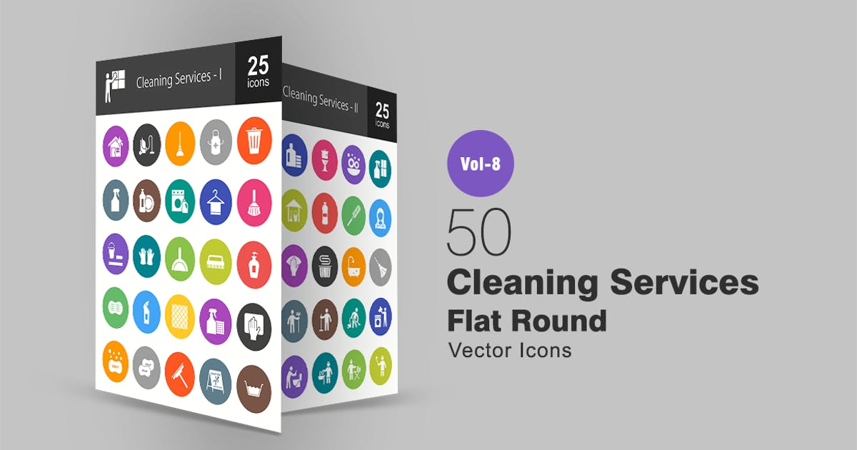 Download 50 Cleaning Services Flat Round Icons by IconBunny
