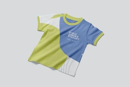 Girls Ringer Tee Shirt Mockups