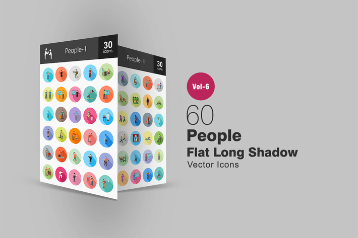 Thumbnail for 60 People Flat Shadowed Icons