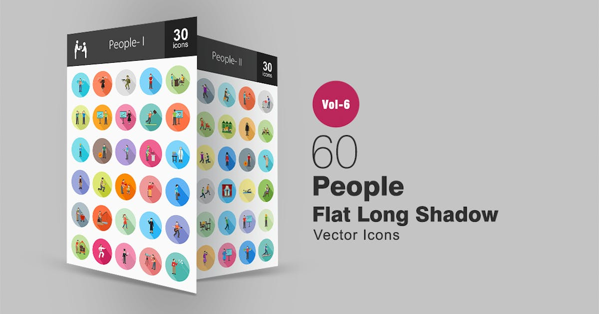 Download 60 People Flat Shadowed Icons by Unknow