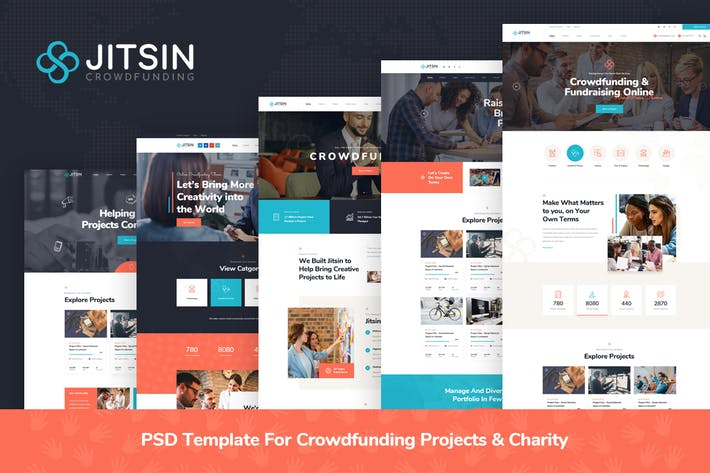 Jitsin - Crowdfunding Projects & Charity PSD