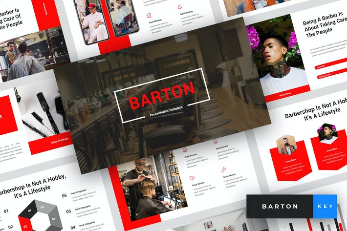 Thumbnail for Barton - Barbershop Keynote Vorlage