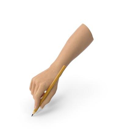 Hand hält einen Bleistift