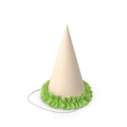 Partymütze mit grüner Rüsche
