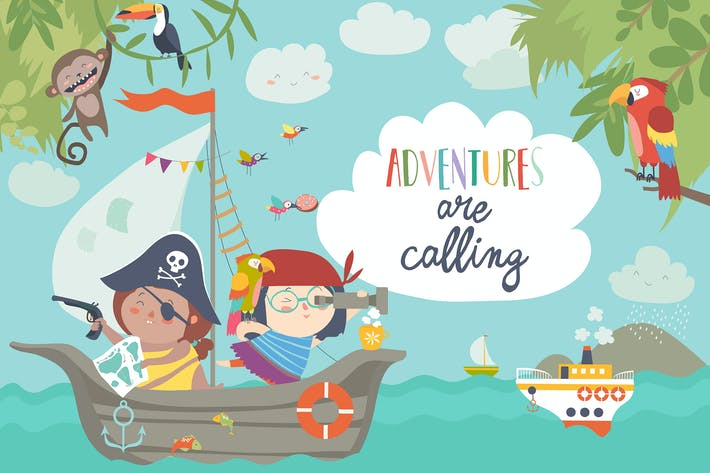Cover Image For Cute pirates sailing in their ship. Vector