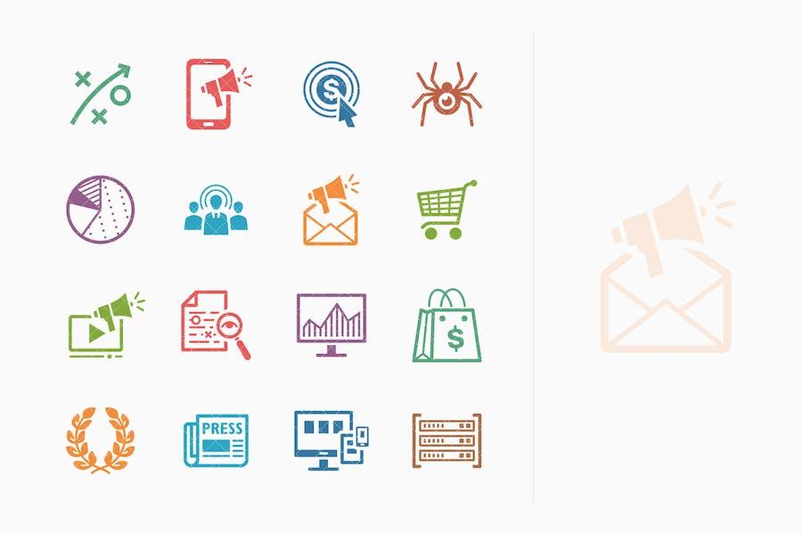 Íconos de marketing en Internet y SEO coloreado - Kit 3