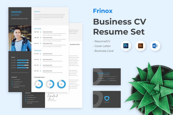 Thumbnail for Business Clean Resume CV Set - Frinox