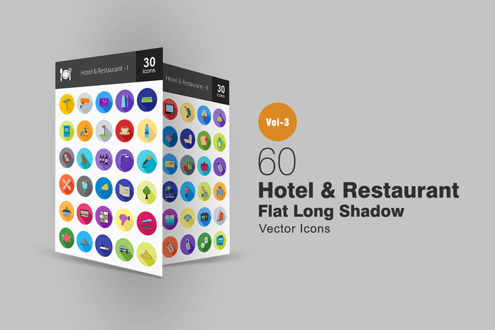Thumbnail for 60 Hotel & Restaurant Flat Shadowed Icons