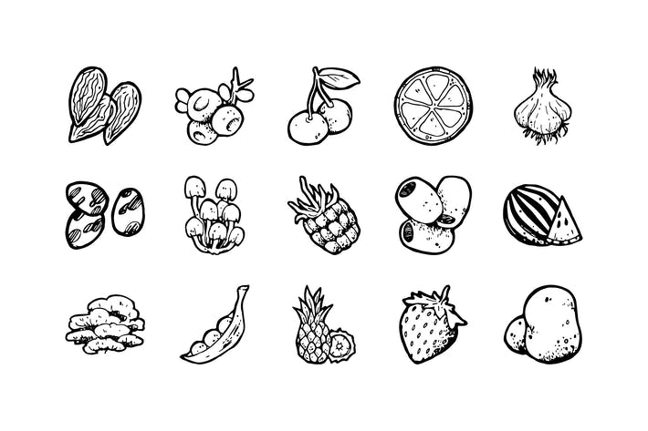 Thumbnail for 54 Food Hand-drawn icons