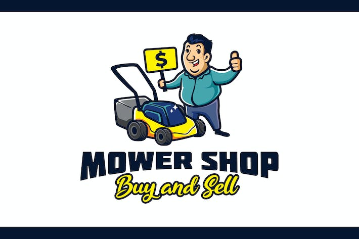 Lawn Mower Machine Shop Character Mascot Logo
