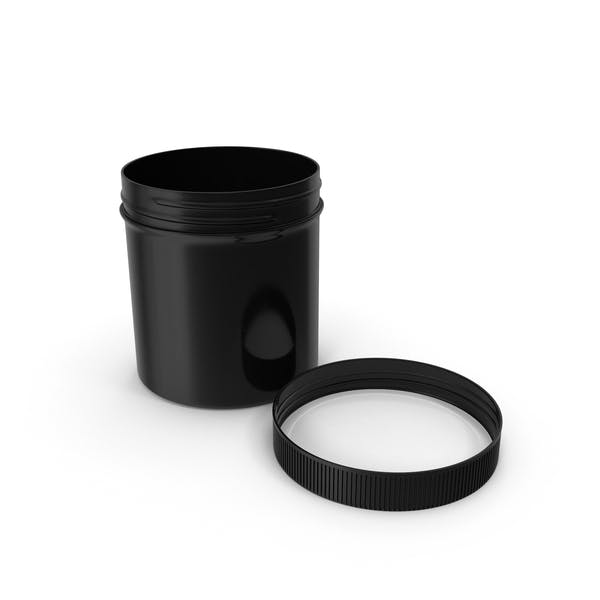 Black Plastic Jar Wide Mouth Straight Sided 20oz Cap Laying
