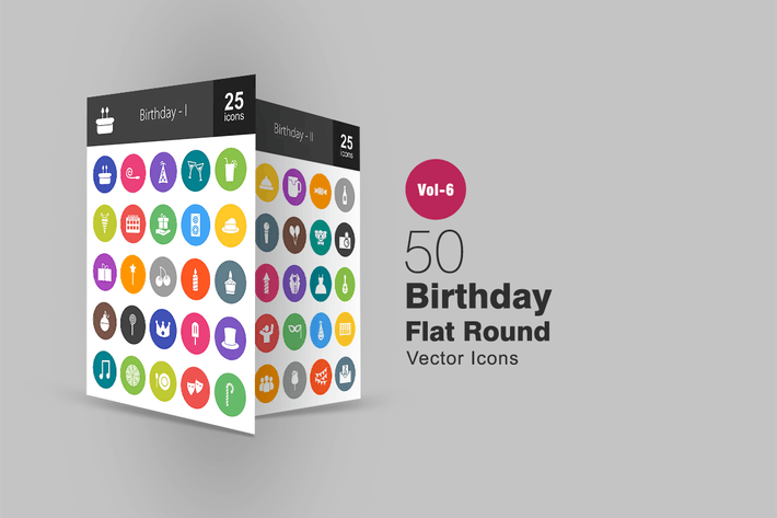 Thumbnail for 50 Birthday Glyph Multicolor BG Icons