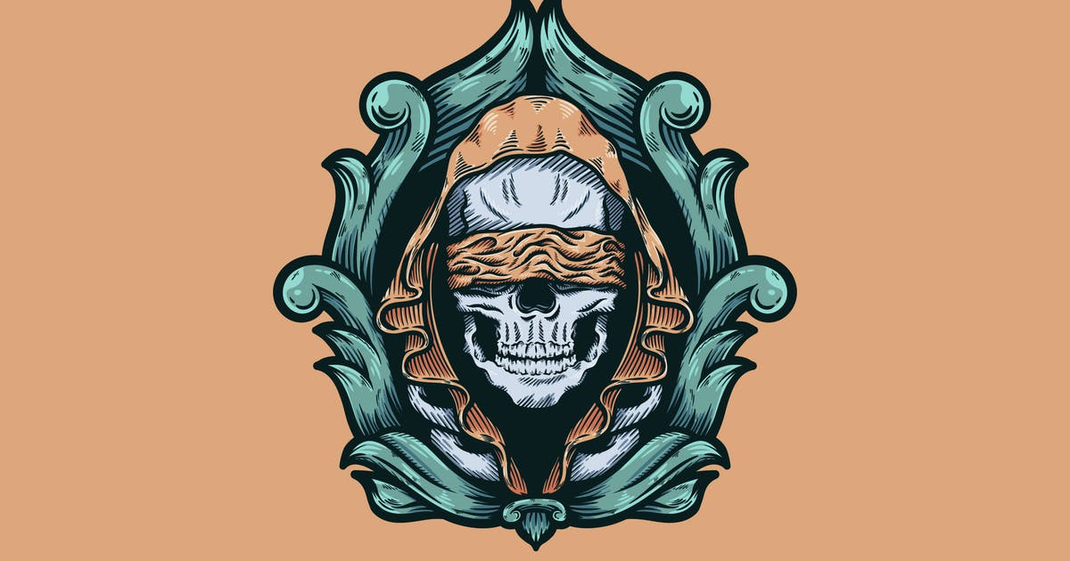 Download Skull With Hood And Baroque Illustration by andhikadsgn