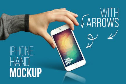 iPhone Hand Mockup With Arrows