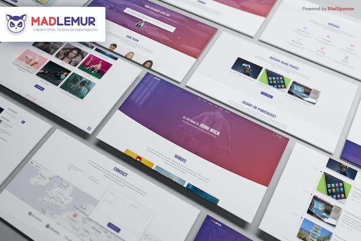 Thumbnail for Mad Lemur - A Modern Template for Digital Agencies
