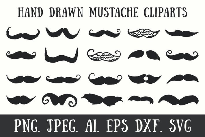 Thumbnail for 20 Handmade Mustache Cliparts