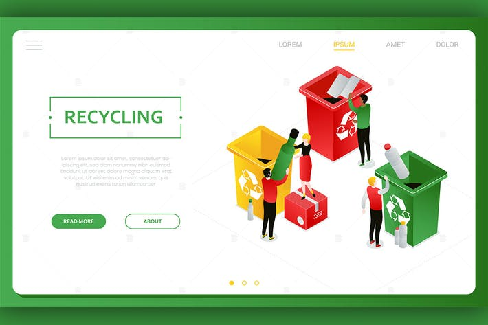 Thumbnail for Recycling - modern colorful isometric web banner