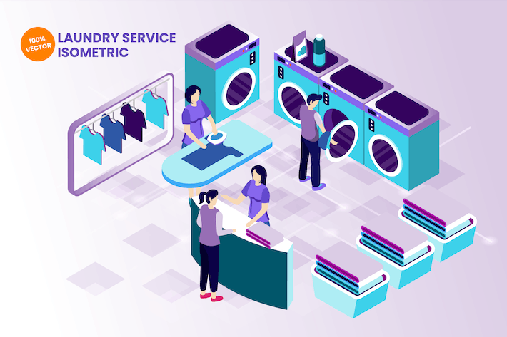Thumbnail for Isometric Laundry Service Vector Illustration
