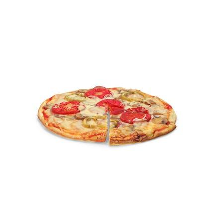 Pizza mit Scheibenschnitt
