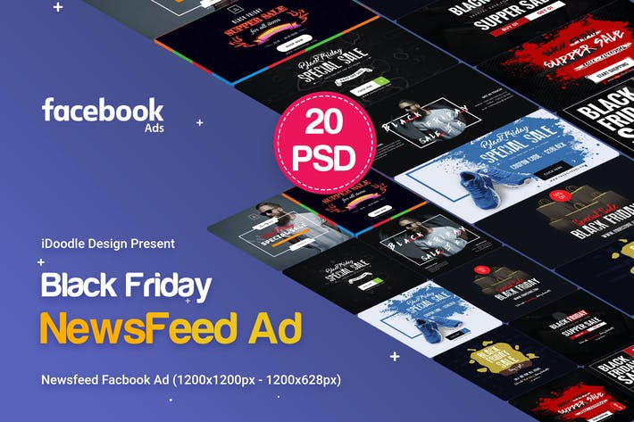 Thumbnail for Black Friday NewsFeed Banners Ad - 20PSD