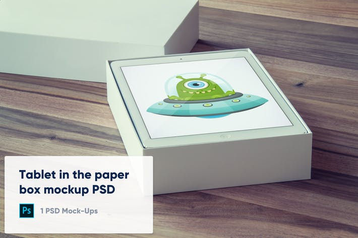 Thumbnail for Tablet in The Paper Box Mockup PSD