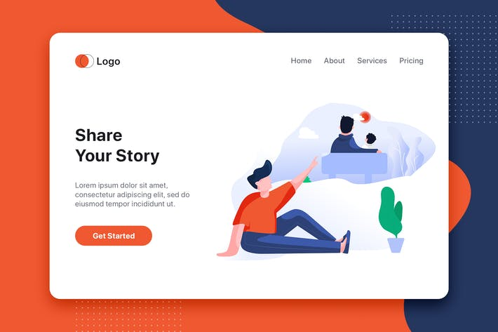 Thumbnail for Share your story flat concept for Landing page