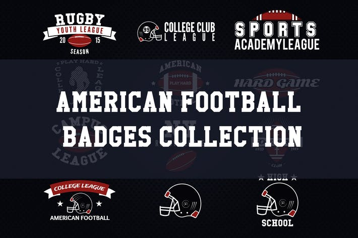 Thumbnail for American Football Logos, Retro Sports Labels Icons