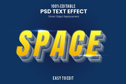 Space 3D Text Effect