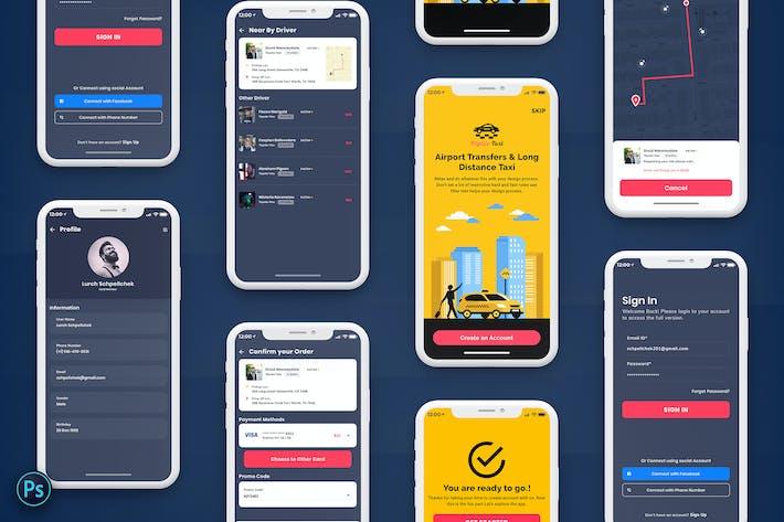 Thumbnail for Taxi Booking Mobile App UI Kit Dark Version