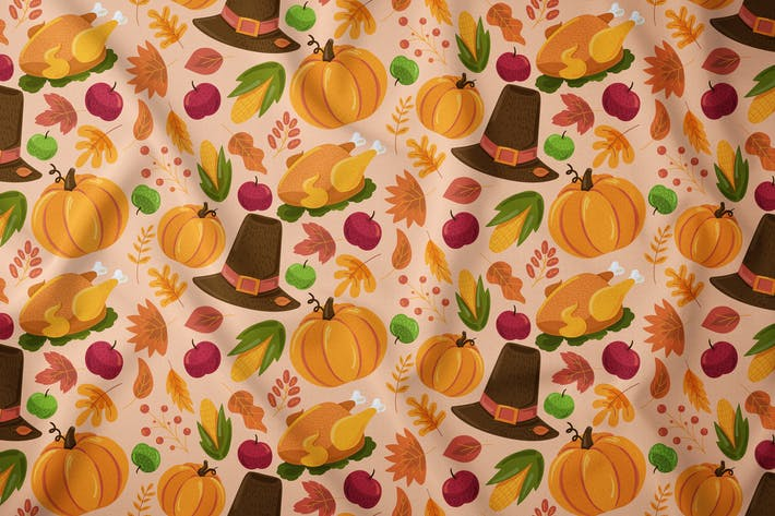 Thumbnail for Cartoon Thanksgiving Seamless Pattern
