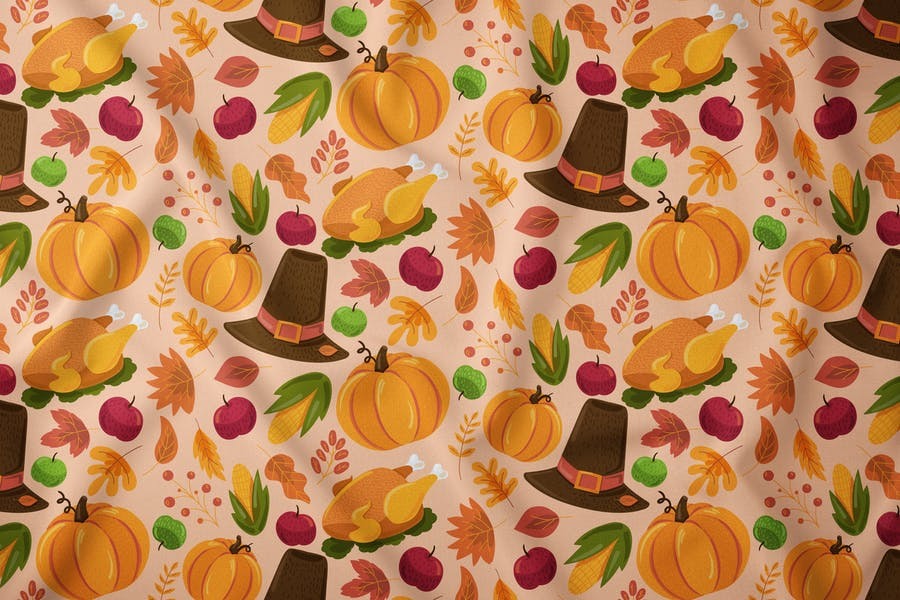 Cartoon Thanksgiving Seamless Pattern