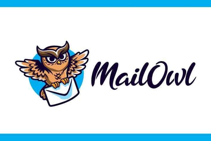 Thumbnail for Cartoon Mail Hibou Mascotte Logo