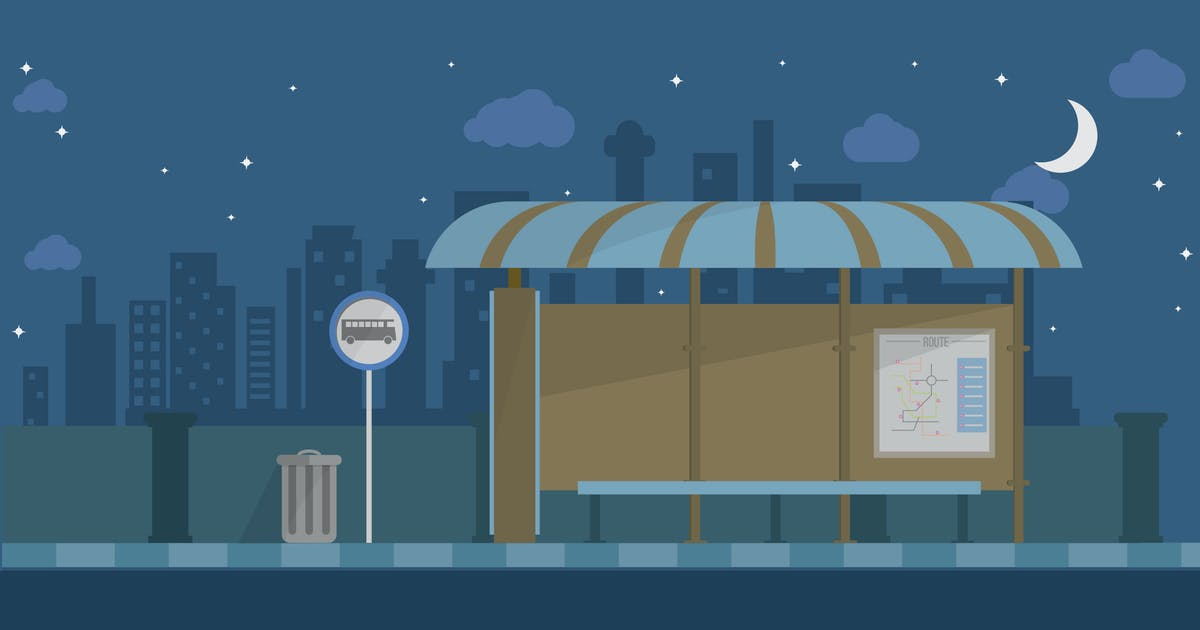 Download Bus Terminal - Illustration Background by Graphiqa
