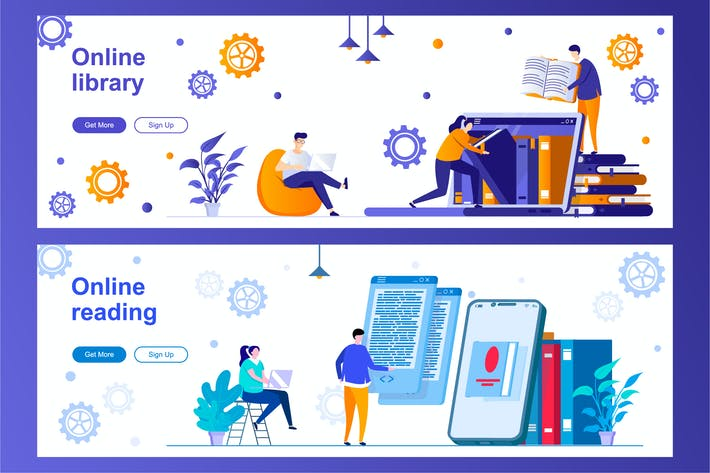 Thumbnail for Online Library and Online Reading Web Banners