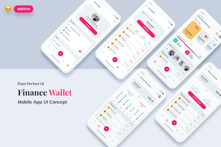 Thumbnail for Finance Wallet MobileApp UI Light Version (SKETCH)