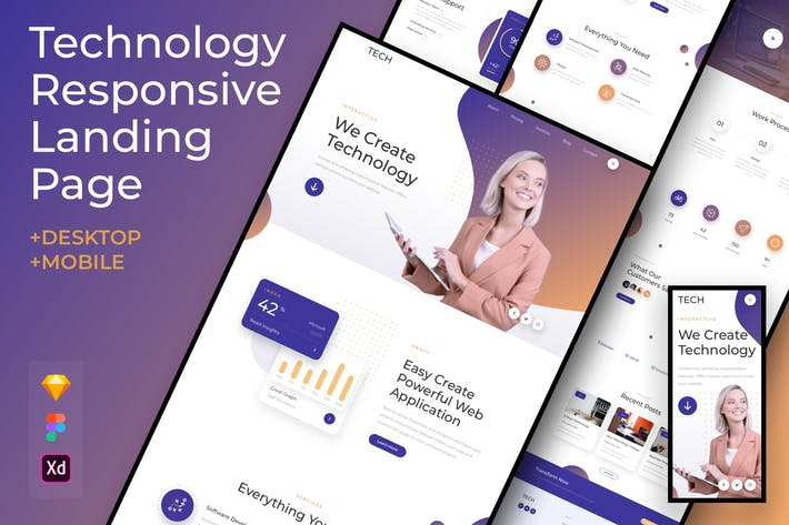 Thumbnail for Business Technology Responsive Landing Page